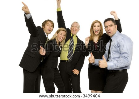 Business people gesture excitement together
