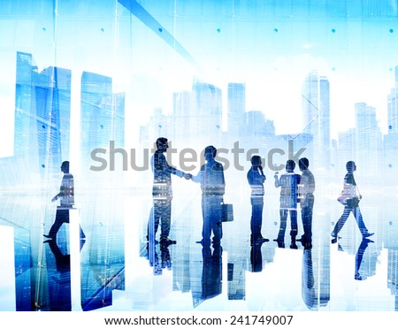 Business People Handshake Agreement Cityscape Corporate Deal Concept