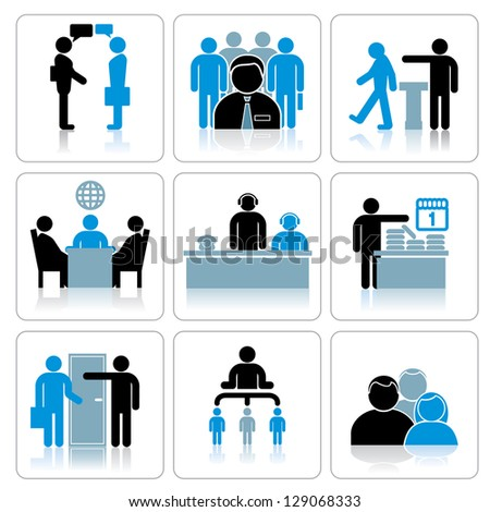 Flat modern design vector illustration concept of creative office room - Flat Icons Set Business People Team Stock Vector 220144957