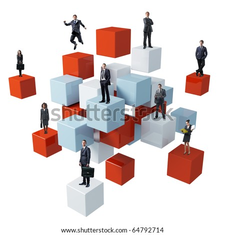 business people on 3d abstract cube background