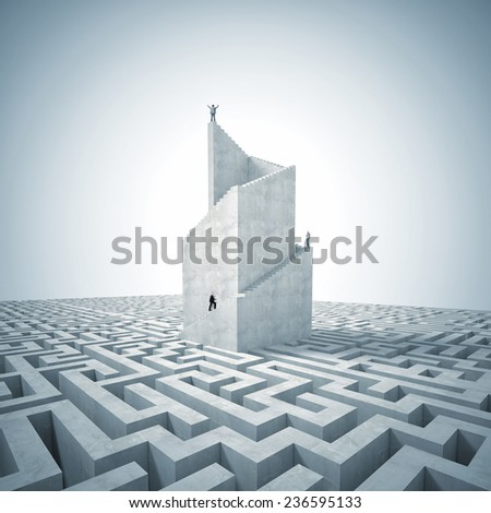 business people on 3d abstract tower with maze