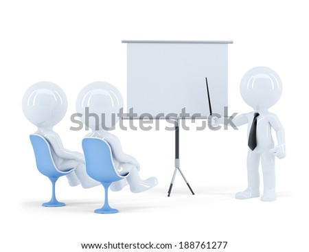 Business people sitting on presentation. Isolated. Contains clipping path