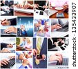 Business people team collage. Teamwork background. - stock photo