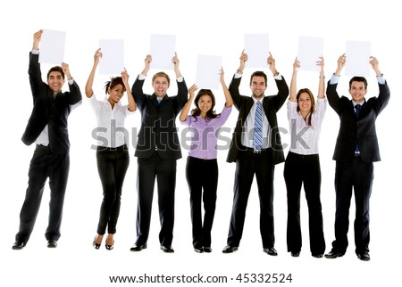 Business people with banners isolated over a white background