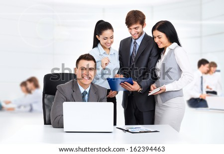 business people working discussion on document, group businesspeople at desk laptop in conference office
