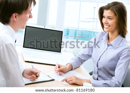 Business people working together in an modern office