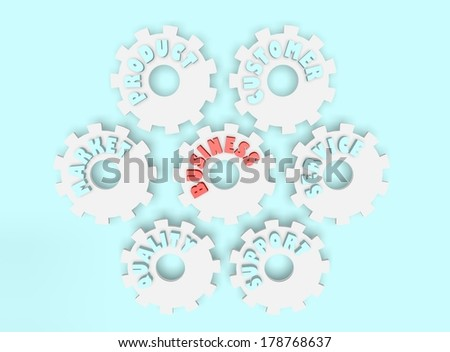 business tag cloud on gears