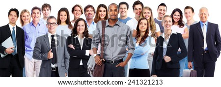 Business team. Group of workers people isolated white background