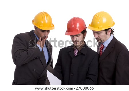 Business team, looking at new project - isolated in white