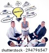 Business team sitting in circle and discussing against innovation doodle - stock photo