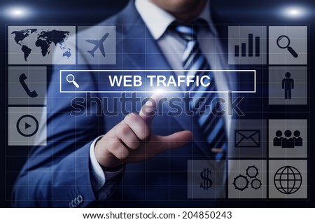 business, technology, internet and networking concept - businessman pressing web traffic button on virtual screens
