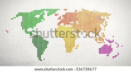 Business / Travel Concept. World Map made of textured dots on a  slightly textured white background.