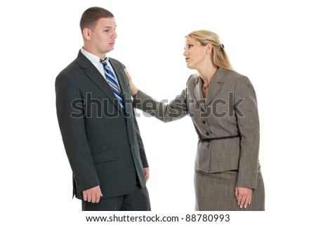 Business woman comforting a colleague isolated on a white background
