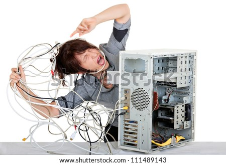 business woman going mad with computer problems