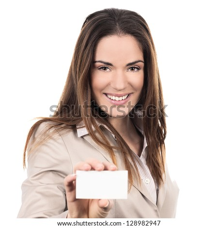 business woman holding a blank business card over white background