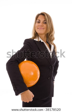 Business woman holding a orange ball isolated on a white background