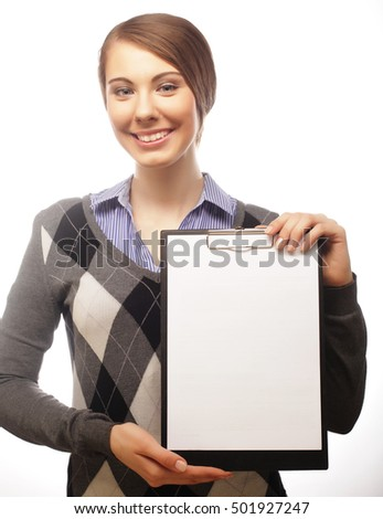 Business woman holding clipboard isolated on white