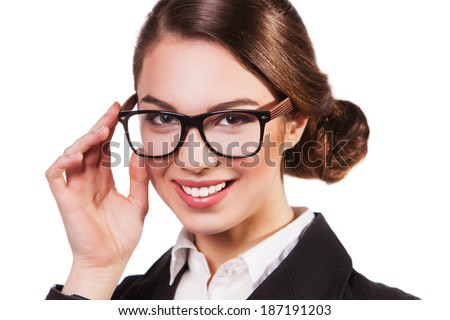 business woman in glasses isolated on white.