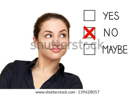 Business woman looking on option and select no decision isolated on white background