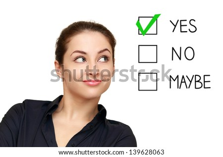Business woman looking on option and select yes decision isolated on white background