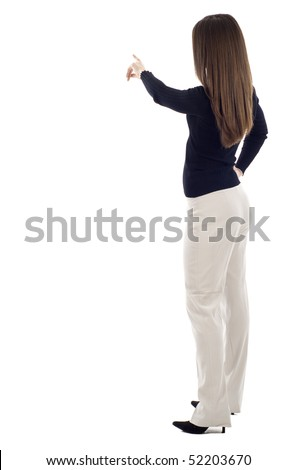 Business woman presenting over a white background, a lot of copyspace,  Left handed