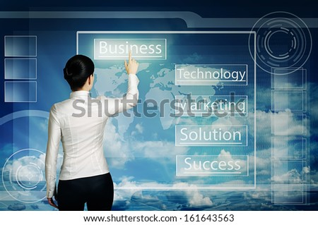 business woman push virtual icon in web interface over blue cloudy sky