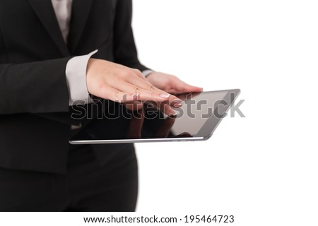 Business woman Using Digital Tablet isolated on white