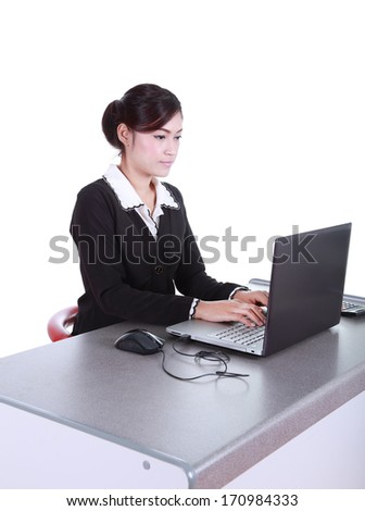 Business woman with a laptop - isolated on white background