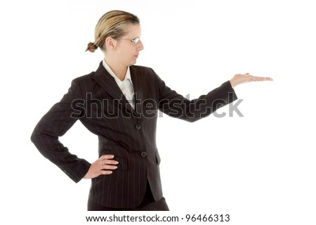 business woman with outstretched hand presenting something