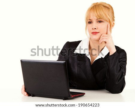 business woman working with the computer, white background