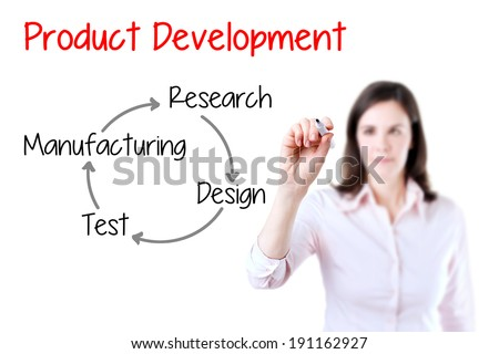 Business woman writing product development concept.