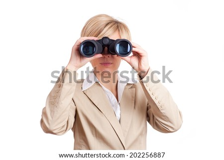 business women holding binoculars isolated on white background