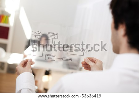 Businessman at his office showing a online order schema (selective focus with shallow DOF).