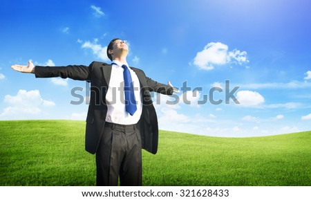 Businessman Business Success Happiness Field Concept