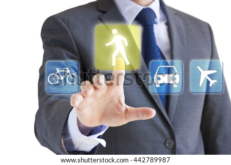 Businessman choosing means of transportation - conceptual image