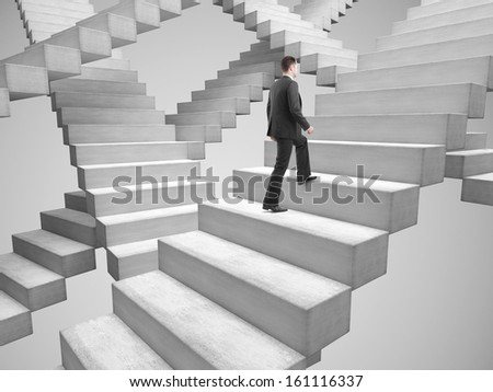 businessman climbing stairs among the many stairs