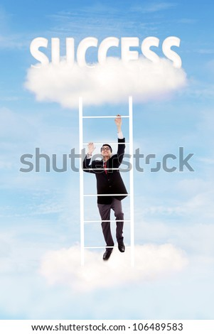 Businessman climbing upward on the stair of cloud to get success