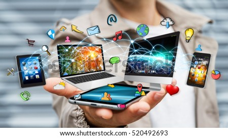 Businessman connected tech devices and icons applications with his mobile phone 3D rendering