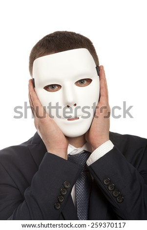 Businessman covering his face with white mask