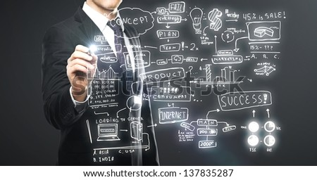 businessman drawing business concept on a gray background