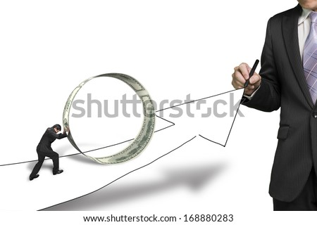 Businessman drawing growing arrow another pushing money circle on it in white background
