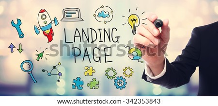 Businessman drawing Landing Page concept on blurred abstract background