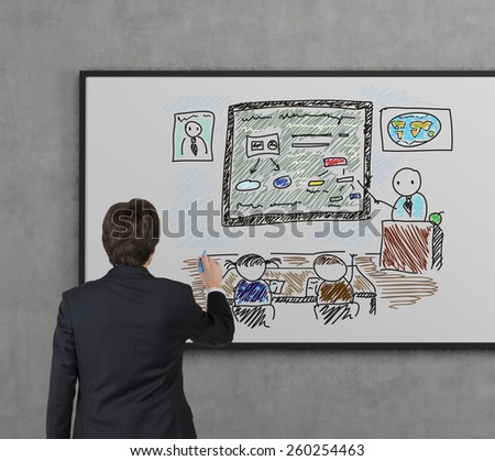 businessman drawing students in academy on desk