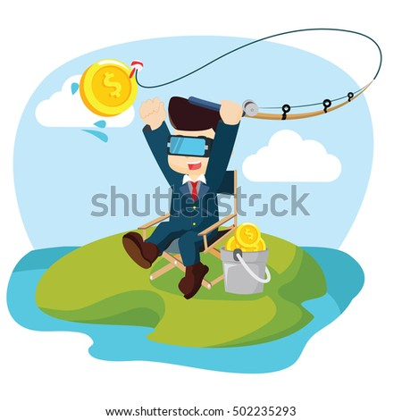 Archer athlete sport competition flat vector stock vector for Virtual reality fishing