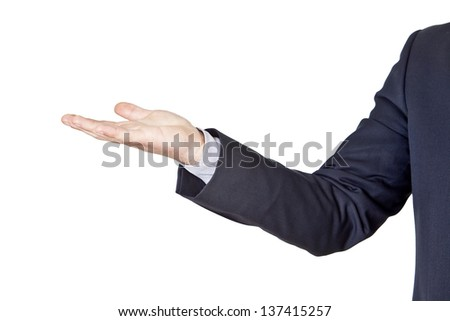 businessman gesturing with his hand isolated on a white background