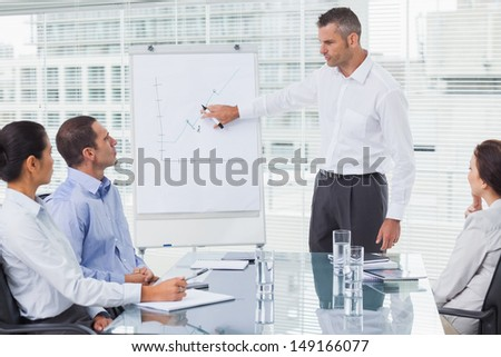 Businessman giving presentation to his colleagues in bright office