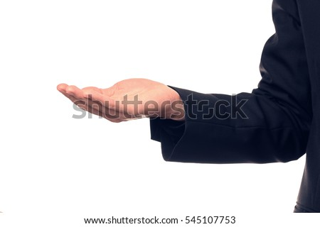Businessman hand holding a blank object. Advertisement concept.
