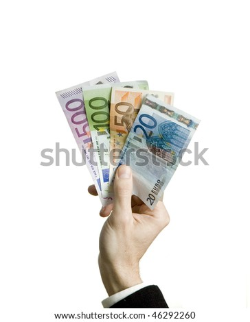 businessman hand holding euro bills isolated on white background