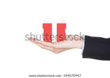 Businessman hand holding gift box isolated on white background