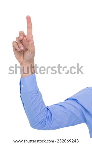 Businessman hand pointing something up on white background